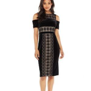 Maggie London cold shoulder lace insert dress